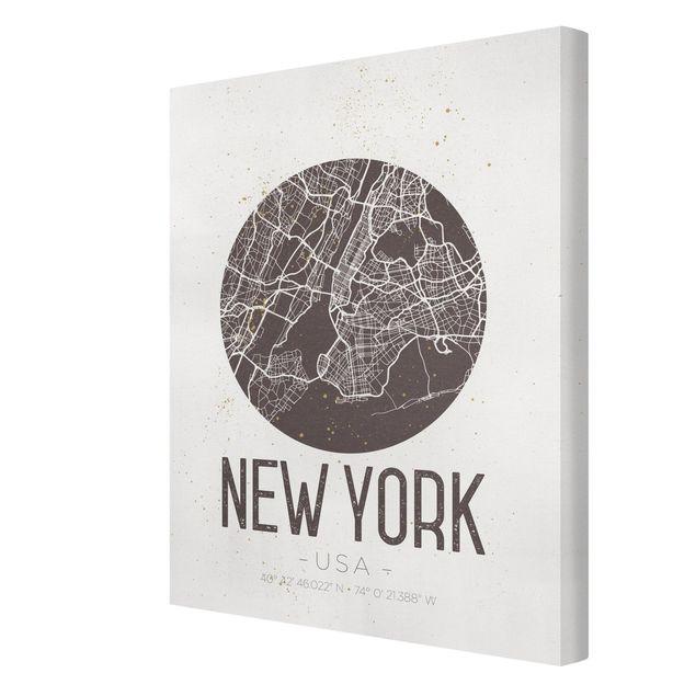 Produktfoto Leinwandbild - Stadtplan New York - Retro - Hochformat 4:3, Spiegelkantendruck rechts, Artikelnummer 229502-FR