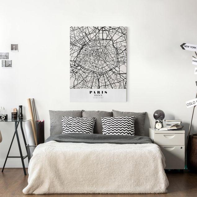 Produktfoto Leinwandbild - Stadtplan Paris - Klassik - Hochformat 4:3, in Wohnambiente, Artikelnummer 229503-WA