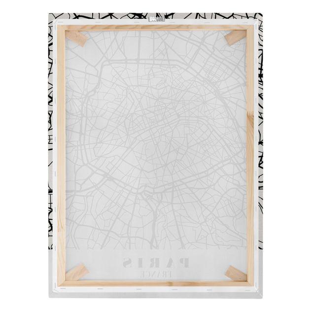 Produktfoto Leinwandbild - Stadtplan Paris - Klassik - Hochformat 4:3, Keilrahmen Rückseite, Artikelnummer 229503-FB