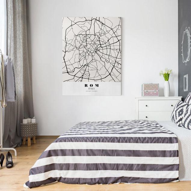 Produktfoto Leinwandbild - Stadtplan Rom - Klassik - Hochformat 4:3, in Wohnambiente, Artikelnummer 229505-WA