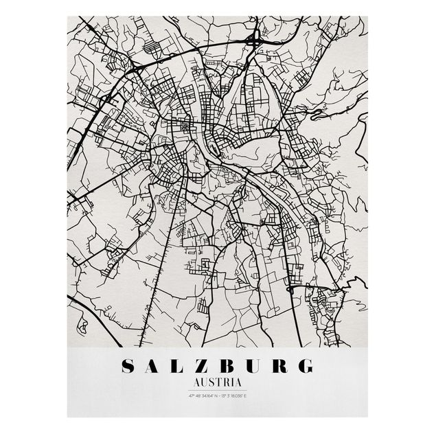 Produktfoto Leinwandbild - Stadtplan Salzburg - Klassik - Hochformat 4:3, Frontalansicht, Artikelnummer 229506-FF