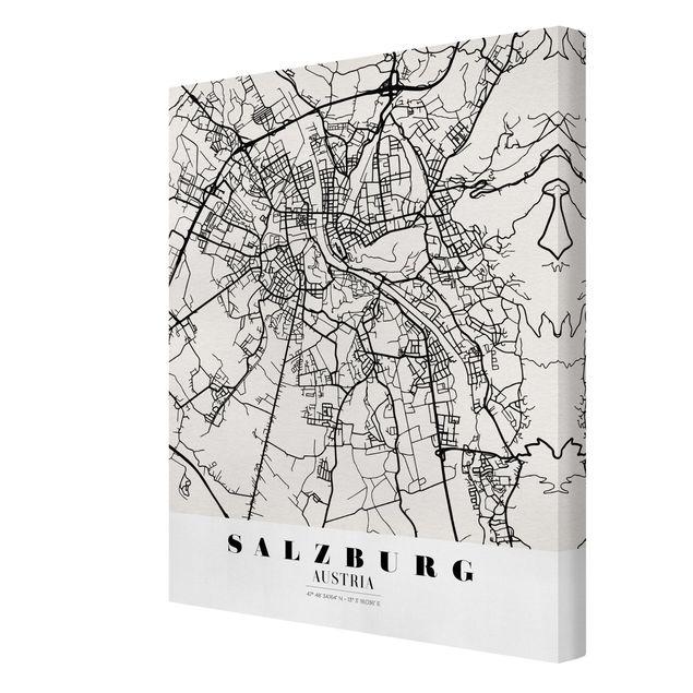 Produktfoto Leinwandbild - Stadtplan Salzburg - Klassik - Hochformat 4:3, Spiegelkantendruck rechts, Artikelnummer 229506-FR