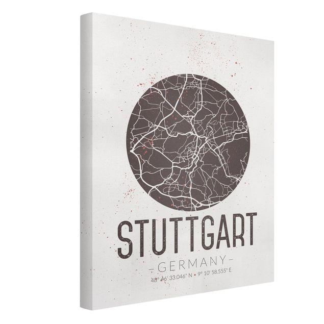 Produktfoto Leinwandbild - Stadtplan Stuttgart - Retro - Hochformat 4:3, Spiegelkantendruck links, Artikelnummer 229508-FL