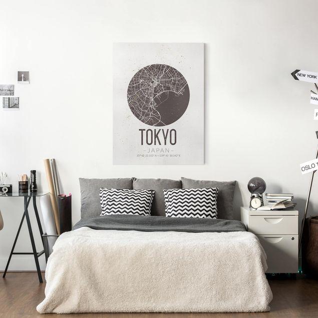 Produktfoto Leinwandbild - Stadtplan Tokyo - Retro - Hochformat 4:3, in Wohnambiente, Artikelnummer 229510-WA