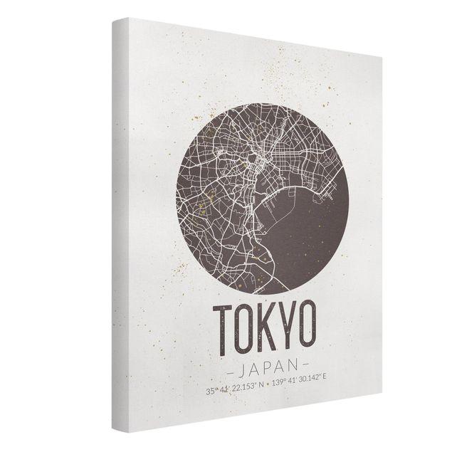 Produktfoto Leinwandbild - Stadtplan Tokyo - Retro - Hochformat 4:3, Spiegelkantendruck links, Artikelnummer 229510-FL