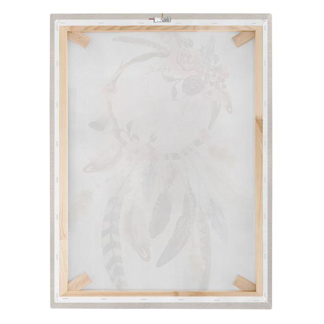Produktfoto Leinwandbild - Traumfänger mit Rosen und Federn - Hochformat 4:3, Keilrahmen Rückseite, Artikelnummer 229518-FB
