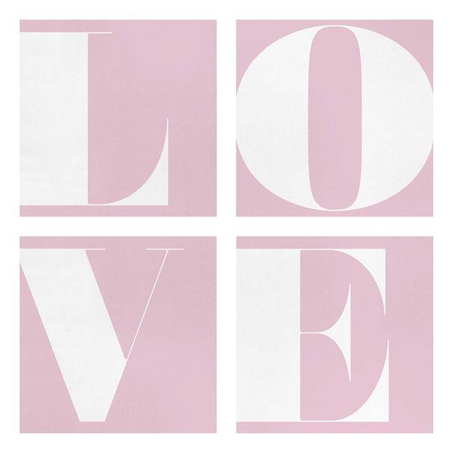 Produktfoto Leinwandbild 4-teilig - Antiqua Letter Love Rosé