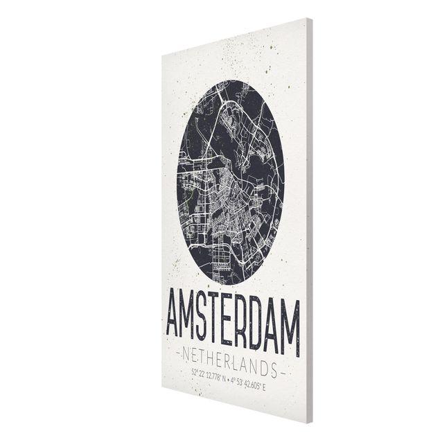 Produktfoto Magnettafel - Stadtplan Amsterdam - Retro - Memoboard Hochformat 4:3