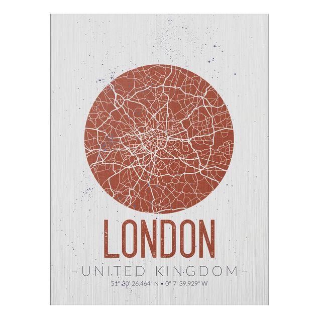 Produktfoto Aluminium Print gebürstet - Stadtplan London - Retro - Hochformat 4:3