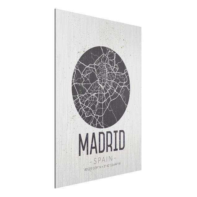 Produktfoto Aluminium Print gebürstet - Stadtplan Madrid - Retro - Hochformat 4:3