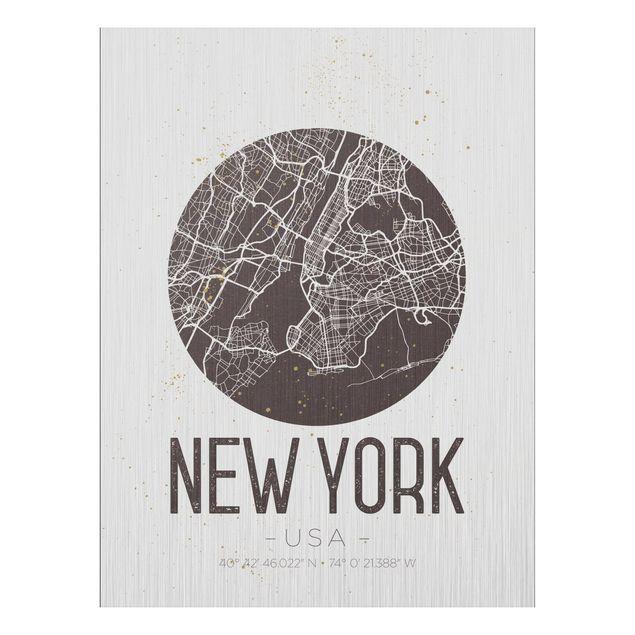 Produktfoto Aluminium Print gebürstet - Stadtplan New York - Retro - Hochformat 4:3