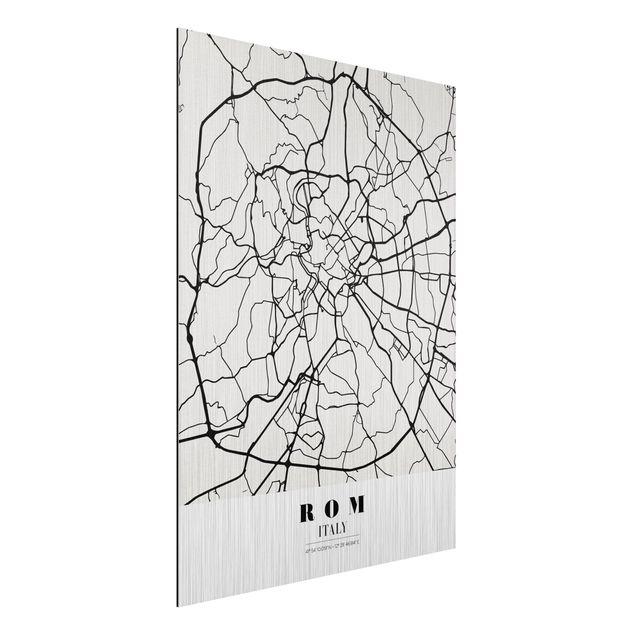 Produktfoto Aluminium Print gebürstet - Stadtplan Rom - Klassik - Hochformat 4:3