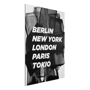 Produktfoto Aluminium Print gebürstet - Berlin New York London - Hochformat 4:3