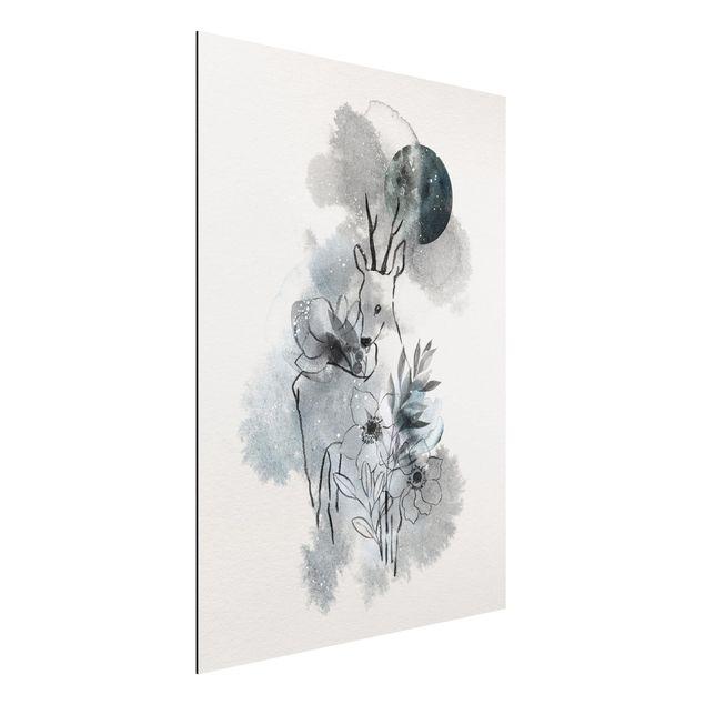 Immagine del prodotto Stampa su alluminio - Deer And Moon - Verticale 4:3