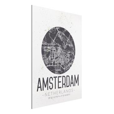Produktfoto Aluminium Print - Stadtplan Amsterdam - Retro - Hochformat 4:3