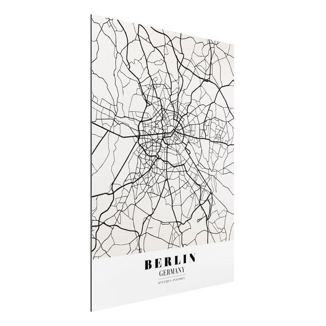 Produktfoto Aluminium Print - Stadtplan Berlin - Klassik - Hochformat 4:3