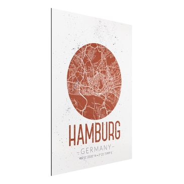 Produktfoto Aluminium Print - Stadtplan Hamburg - Retro - Hochformat 4:3