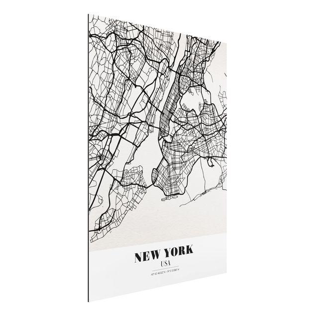 Produktfoto Aluminium Print - Stadtplan New York - Klassik - Hochformat 4:3