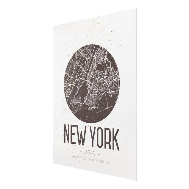 Produktfoto Aluminium Print - Stadtplan New York - Retro - Hochformat 4:3