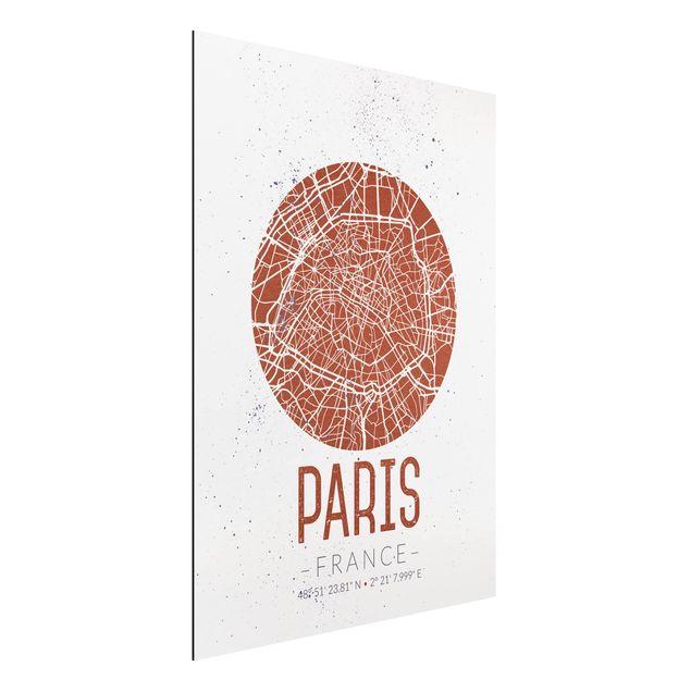 Immagine del prodotto Stampa su alluminio - Paris City Map - Retro - Verticale 4:3