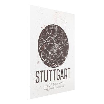 Immagine del prodotto Stampa su alluminio - Stuttgart City Map - Retro - Verticale 4:3
