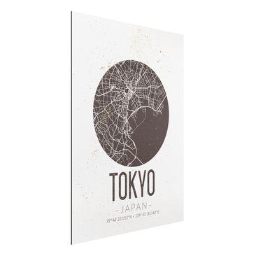 Produktfoto Aluminium Print - Stadtplan Tokyo - Retro - Hochformat 4:3
