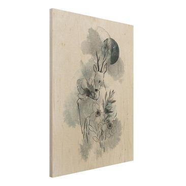 Produktfoto Holzbild -Reh und Mond- Hochformat 4:3