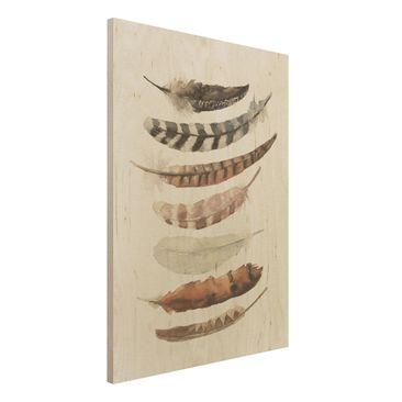 Produktfoto Holzbild -Sieben Federn- Hochformat 4:3