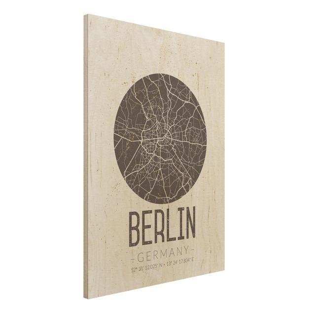 Produktfoto Holzbild -Stadtplan Berlin - Retro- Hochformat 4:3