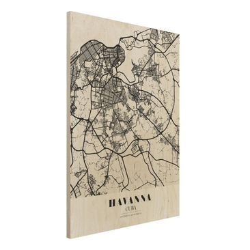 Immagine del prodotto Stampa su legno - Havana City Map - Classic- Verticale 4:3