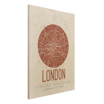 Immagine del prodotto Stampa su legno - London City Map - Retro- Verticale 4:3