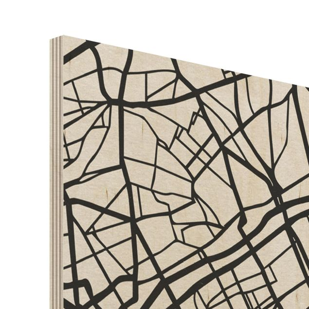 Produktfoto Holzbild -Stadtplan Paris - Klassik- Hochformat 4:3