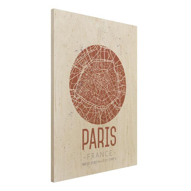 Produktfoto Holzbild -Stadtplan Paris - Retro- Hochformat 4:3