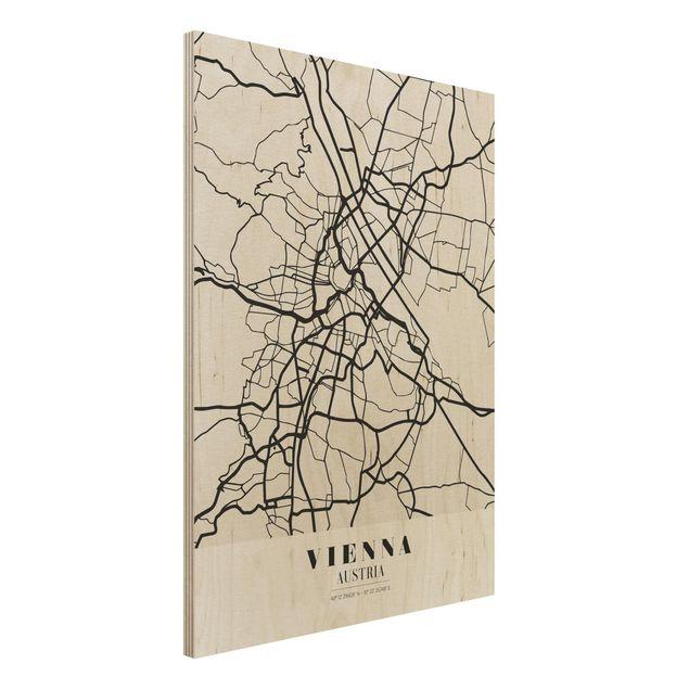 Immagine del prodotto Stampa su legno - Vienna City Map - Classic- Verticale 4:3
