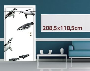 Product picture Door Wall Mural Plashing Penguins