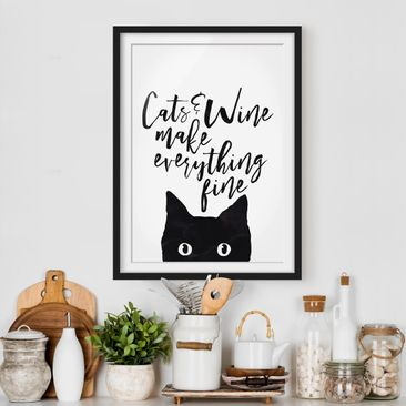 Immagine del prodotto Poster con cornice - Cats And Wine Make Everything Fine - Verticale 4:3