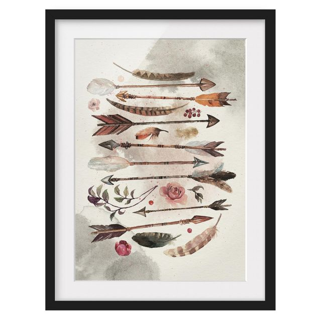Immagine del prodotto Poster con cornice - Boho Arrows And Feathers - Watercolor - Verticale 4:3