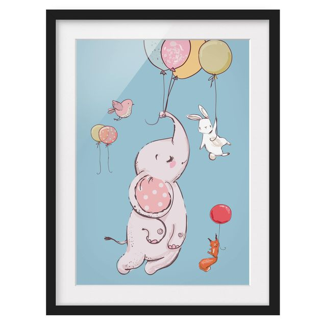 Immagine del prodotto Poster con cornice - Flying Elephant, Rabbit And Squirrel - Verticale 4:3