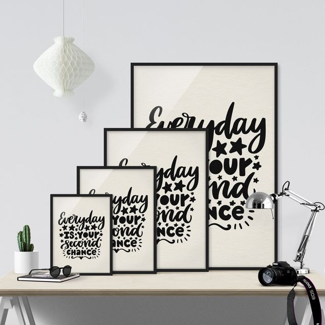 Immagine del prodotto Poster con cornice - Everyday Is Your Second Chance - Verticale 4:3