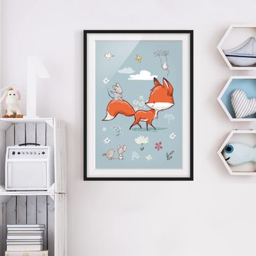 Immagine del prodotto Poster con cornice - Fox And Mouse On The Move - Verticale 4:3