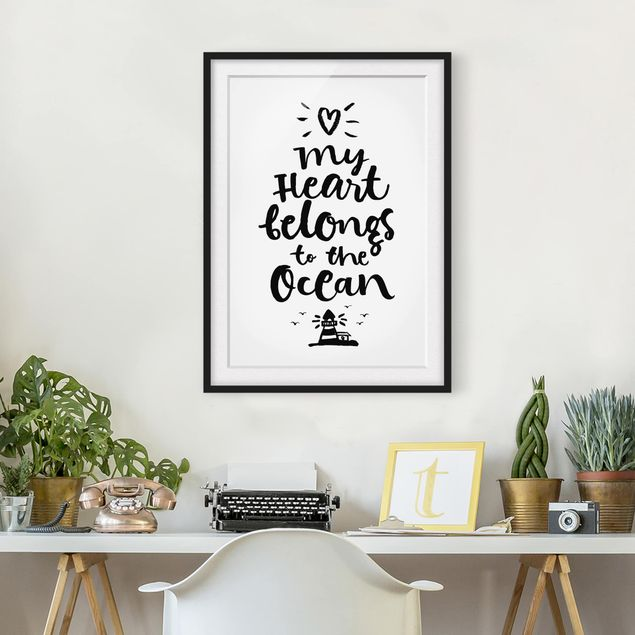 Immagine del prodotto Poster con cornice - My Heart Belongs To The Ocean - Verticale 4:3
