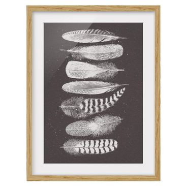 Product picture Framed print - Seven Feathers - Drawing...