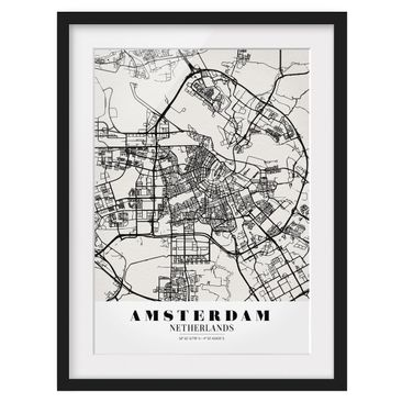 Product picture Framed print - Amsterdam City Map -...