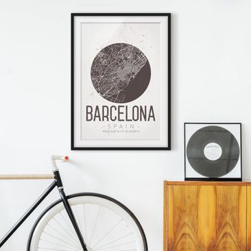 Product picture Framed print - Barcelona City Map -...
