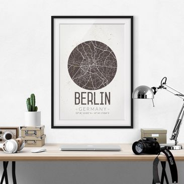 Product picture Framed print - Berlin City Map - Retro -...