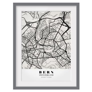 Product picture Framed print - Bern City Map - Classic -...