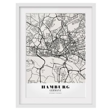 Product picture Framed print - Hamburg City Map -...