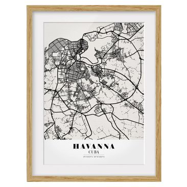 Product picture Framed print - Havana City Map - Classic...