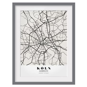 Product picture Framed print - Cologne City Map -...