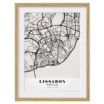 Product picture Framed print - Lisbon City Map - Classic...